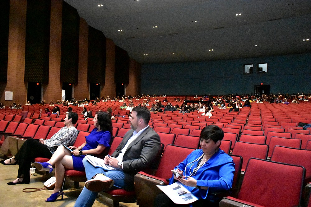 An estimated 450 educators listen to a presentation by W. Richard Smith during an education conference at the Pine Bluff Convention Center auditorium Wednesday, June 16, 2021. (Pine Bluff Commercial/I.C. Murrell)