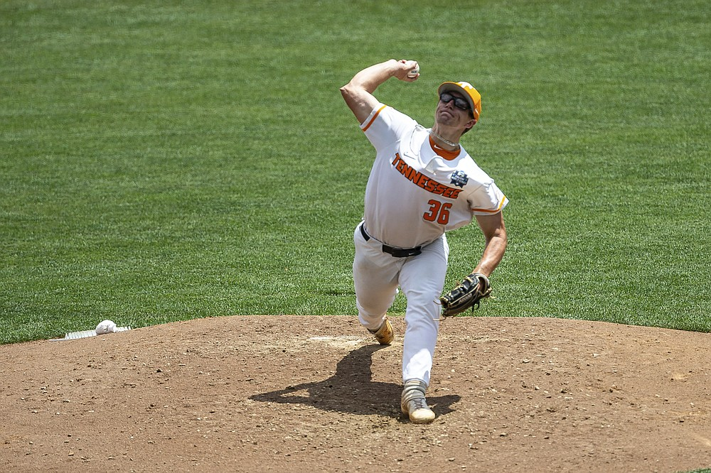 Tennessee pitcher Chad Dallas (36) throws against Virginia during a baseball game in the College World Series, Sunday, June 20, 2021, at TD Ameritrade Park in Omaha, Neb. (AP Photo/John Peterson)