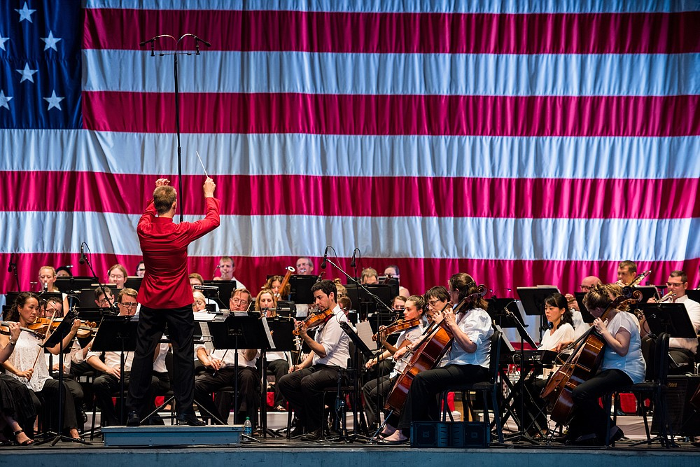 The Symphony of Northwest Arkansas performs for the July 4 celebration at the Walmart AMP in Rogers. (Special to the Democrat-Gazette/© 2016 Stephen Ironside/Ironside Photography)