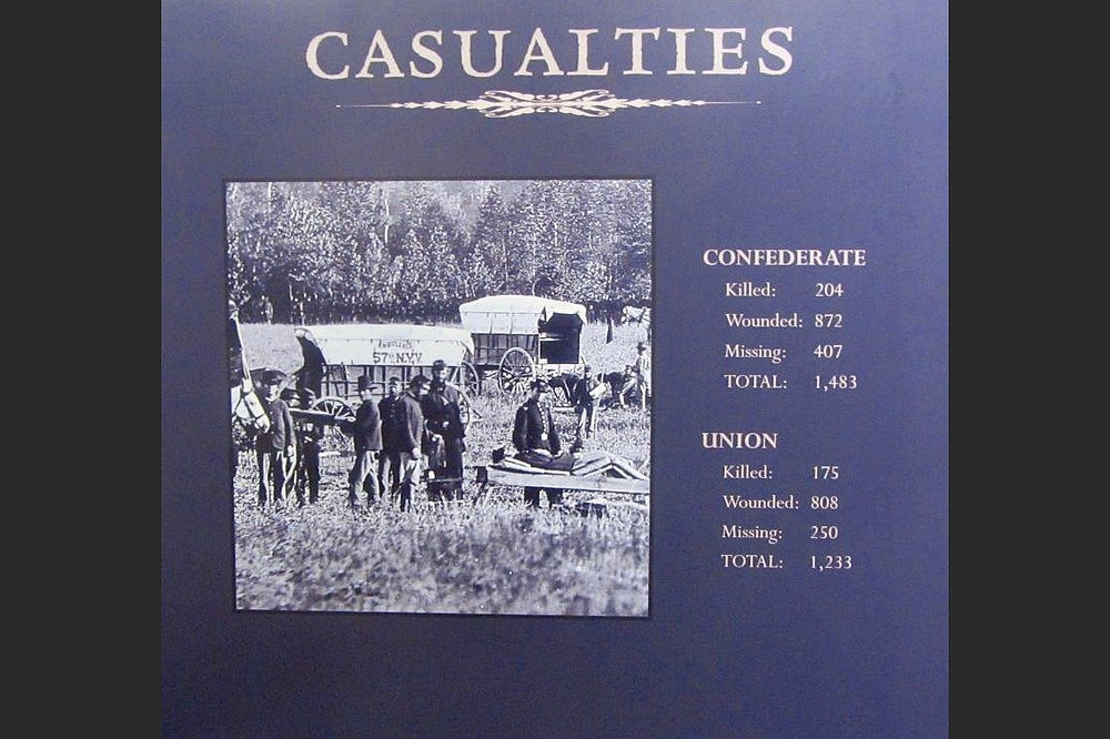 A sign lists Union and Confederate casualties in the Prairie Grove fighting. (Special to the Democrat-Gazette/Marcia Schnedler)