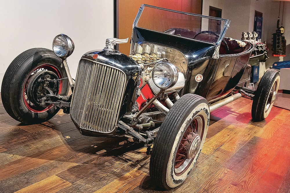 Isky Roadster, one of the first hot rods ever made, is seen in this photo taken on Friday, March 26, 2021, at Speedway Motors Museum of American Speed in Lincoln, Neb. (Justin Wan/Lincoln Journal Star via AP)