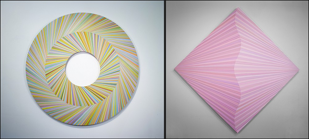 """""""Circle Mountain 2"""" and """"Touch of Pink"""" by Jay Shinn are on display through July 24 at the South Arkansas Arts Center in El Dorado. (Special to the Democrat-Gazette)"""