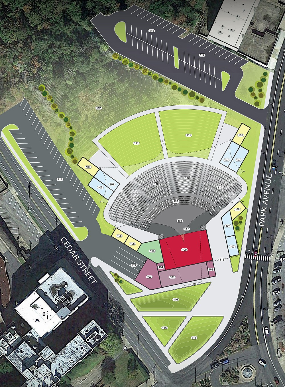 The site plan concept for The Majestic, the outdoor entertainment venue proposed for the Majestic Hotel site, was presented to the Hot Springs Board of Directors Tuesday. - Submitted photo