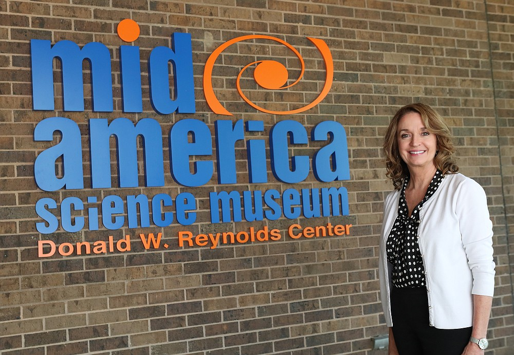 Diane LaFollette, executive director of Mid-America Science Museum, poses at the museum. In 2014, the museum started its renovation behind a grant from the Donald W. Reynolds Foundation. Photo by Richard Rasmussen of The Sentinel-Record