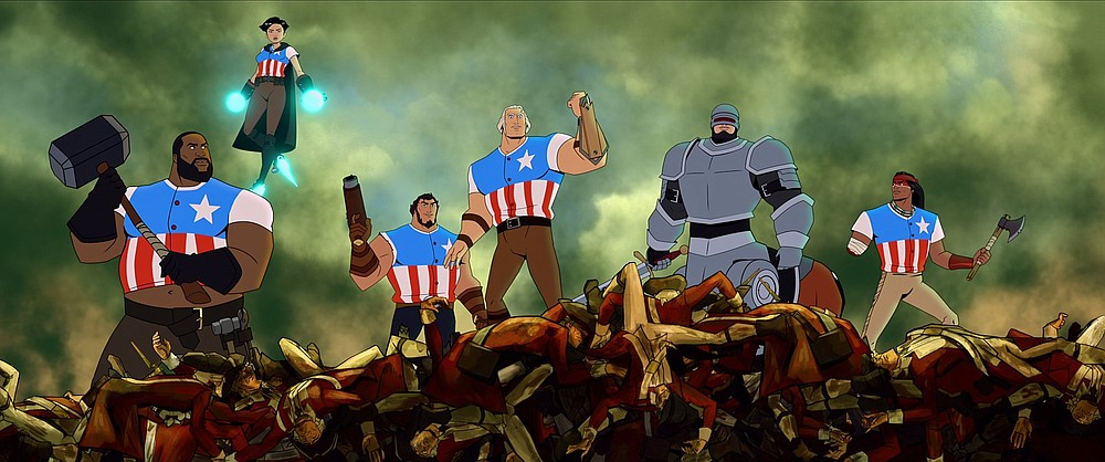"""The voices of Killer Mike as Blacksmith (from left), Oliva Munn as Thomas Edison, Jason Mantzoukas as Samuel Adams, Channing Tatum as George Washington, Bobby Moynihan as Paul Revere and Raoul Max Trujillo as Geronimo are featured in """"America: The Motion Picture."""" (Netflix)"""