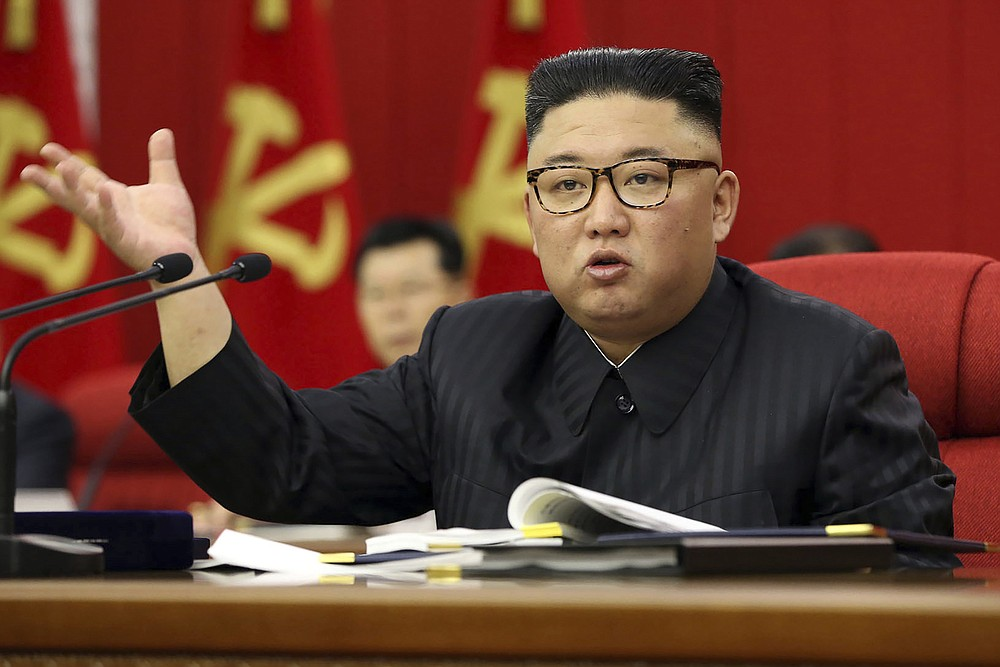 """FILE - In this  June 15, 2021. file photo provided by the North Korean government, North Korean leader Kim Jong Un speaks during a Workers' Party meeting in Pyongyang, North Korea. Kim ripped into senior ruling party and government officials over what he described as a serious lapse in national efforts to fend off COVID-19. The North's official Korean Central News Agency said Wednesday, June 30, 2021 that Kim made the comments during a Politburo meeting of the ruling Workers' Party, which he called to discuss a """"grave incident"""" in anti-epidemic work that he said created a """"huge crisis"""" for the country and its people. (Korean Central News Agency/Korea News Service via AP, File)"""