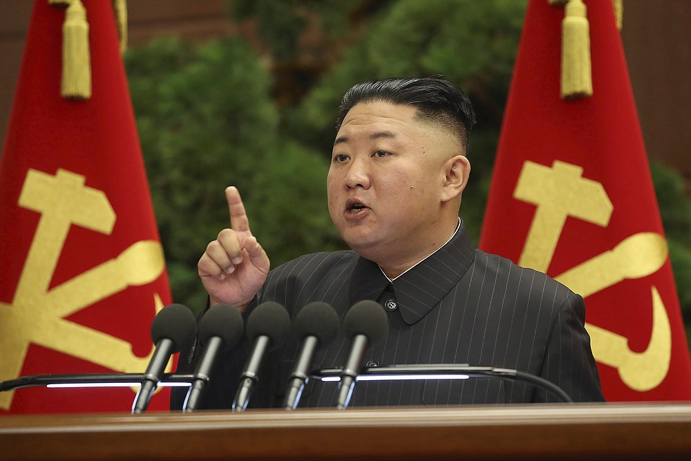 In this photo provided by the North Korean government, North Korean leader Kim Jong Un speaks during a meeting of the ruling Workers' Party Politburo in Pyongyang, North Korea on Tuesday, June 29, 2021. which he described as a serious flaw in national efforts to fend off COVID-19.  The official North Korean Central News Agency said on Wednesday, June 30, 2021 that Kim made the comments during the meeting, which he called to discuss a