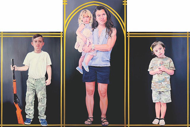 """Ray Allen Parker's current exhibition in Little Rock is anchored by two massive triptych paintings, conceived as secular altarpieces. In these works, each measuring approximately eight-feet tall by 12-feet wide, Parker invokes the potency and beauty of Renaissance and Gothic religious masterworks. This one is titled """"Madonna and Children."""" (Courtesy Image)"""