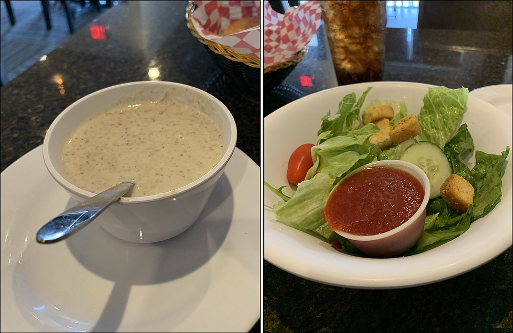 Entrees at Rivera come with choice of soup (a creamy mushroom on one recent occasion) or salad (the house dressing is a tomato vinaigrette). (Arkansas Democrat-Gazette/Eric E. Harrison)