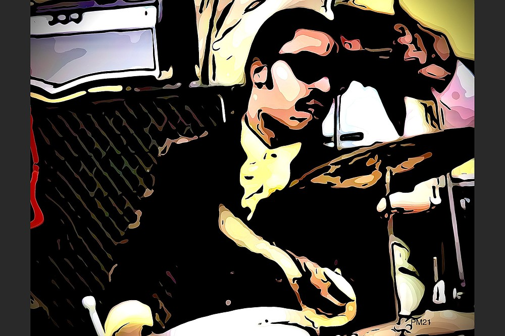 """Nineteen-year-old Stevie Wonder plays drums at the 1969 Harlem Cultural Festival in the documentary """"Summer of Soul."""" (Digital painting by Philip Martin)"""