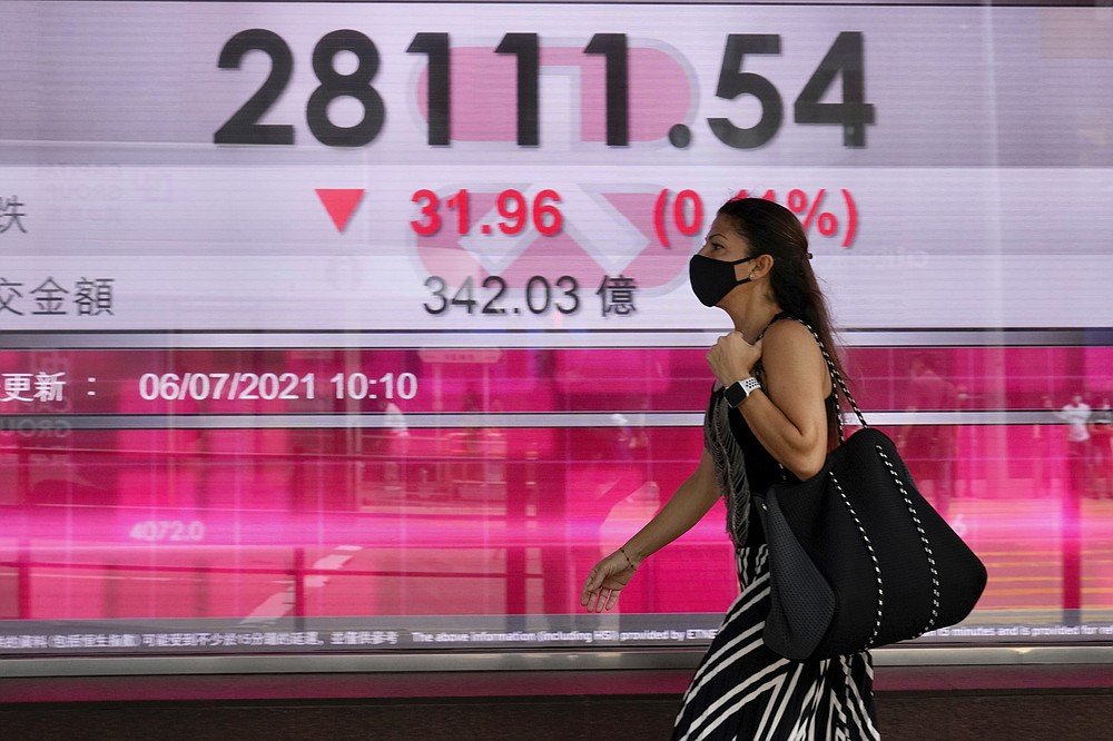 A woman wearing face a mask walks past a bank's electronic board showing the Hong Kong share index in Hong Kong, Tuesday, July 6, 2021. Asian shares were mixed in muted trading on Tuesday as oil prices surged higher after a meeting of oil producing nations was postponed. (AP Photo/Kin Cheung)
