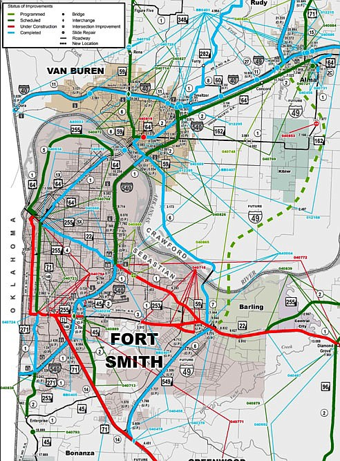 The Arkansas Department of Transportation map of highway projects in Fort Smith is seen.