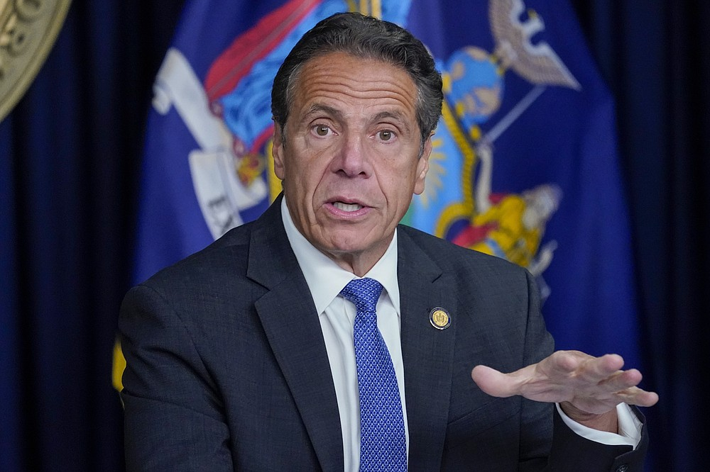 FILE - In this Wednesday, June 23, 2021, file photo, New York Gov. Andrew Cuomo speaks during a news conference, in New York. Cuomo is the outgoing chairman of the National Governors Association, which has been focused on states' response to the coronavirus since the pandemic erupted across the U.S. Arkansas Gov. Asa Hutchinson will become the new chair of the association. (AP Photo/Mary Altaffer, File)