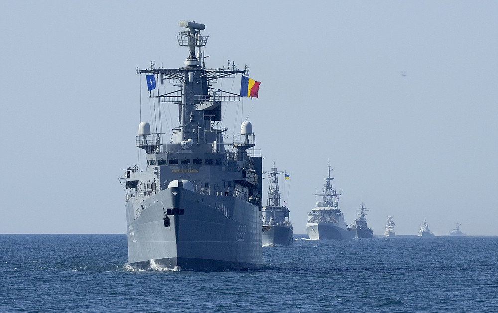 NATO warships are in battle formation during Sea Breeze 2021 maneuvers, in the Black Sea, Friday, July 9, 2021. Ukraine and NATO have conducted Black Sea drills involving dozens of warships in a two-week show of their strong defense ties and capability following a confrontation between Russia's military forces and a British destroyer off Crimea last month. (AP Photo/Efrem Lukatsky)