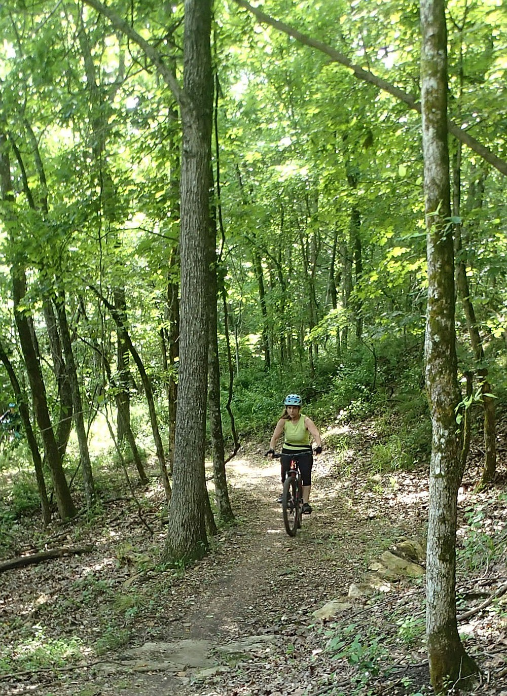 """SueEllen Novick cruises through the forest June 11 2021 on the Marble Flats trails minutes from downtown Eureka Springs. Novick samples the """"Beauty Is Everywhere"""" loop that guides riders past rock formations, a skills area and acres of woods. (NWA Democrat-Gazette/Flip Putthoff)"""