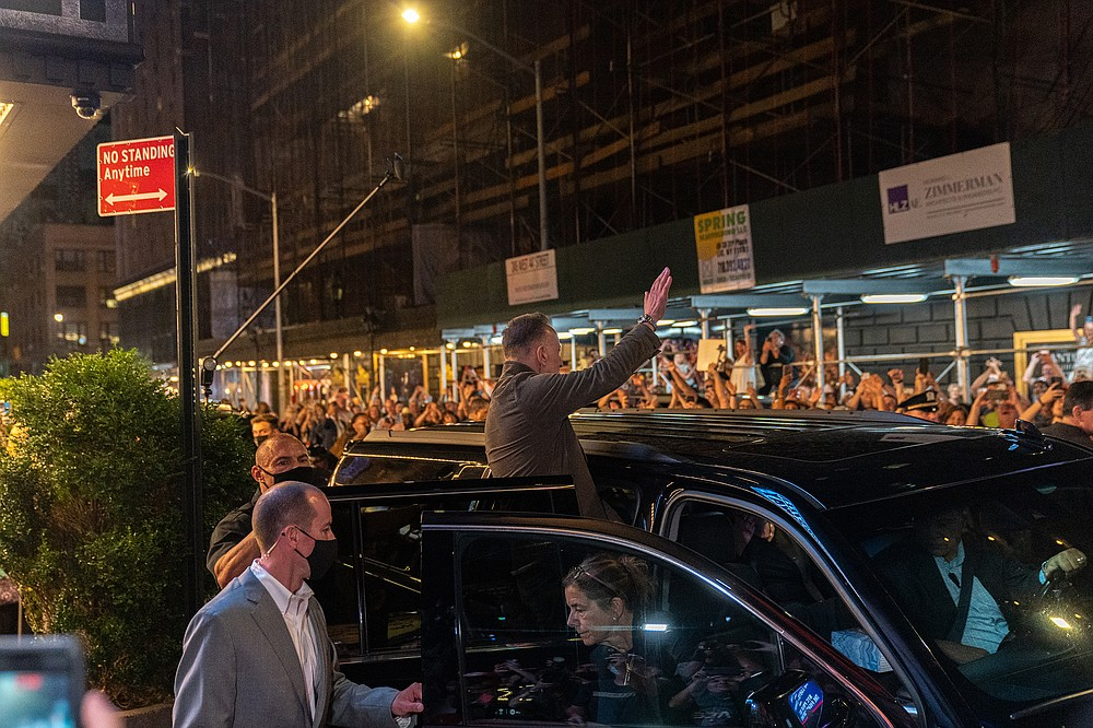 Bruce Springsteen greets his fans after his Broadway show at the St. James Theatre on June 26. (The Washington Post/Jeenah Moon)