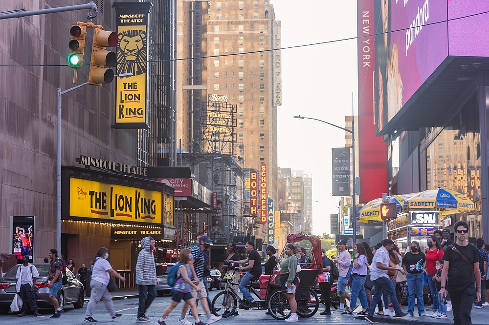 The theater district of Manhattan is teeming once again with pedestrian traffic. (The Washington Post/Jeenah Moon)