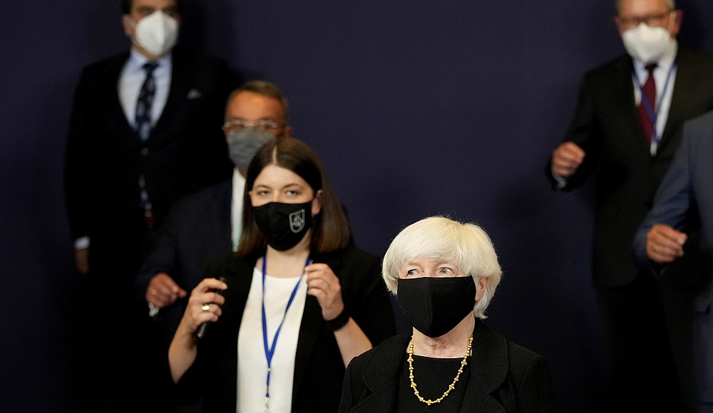 US Treasury Secretary Janet Yellen, center, poses for a group photo of Eurogroup finance ministers at the European Council building in Brussels on Monday, July 12, 2021 (AP Photo / Virginia Mayo)