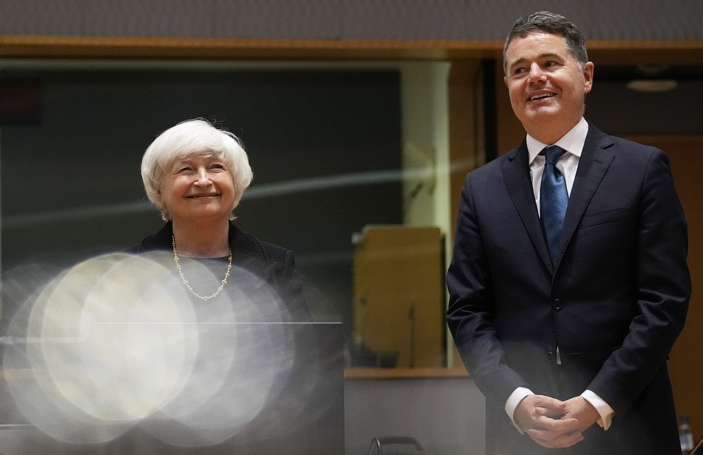 US Treasury Secretary Janet Yellen, left, and Irish Finance Minister Paschal Donohoe pose ahead of a meeting of Eurogroup finance ministers at the European Council building in Brussels on Monday July 12, 2021 (AP Photo / Virginia Mayo )