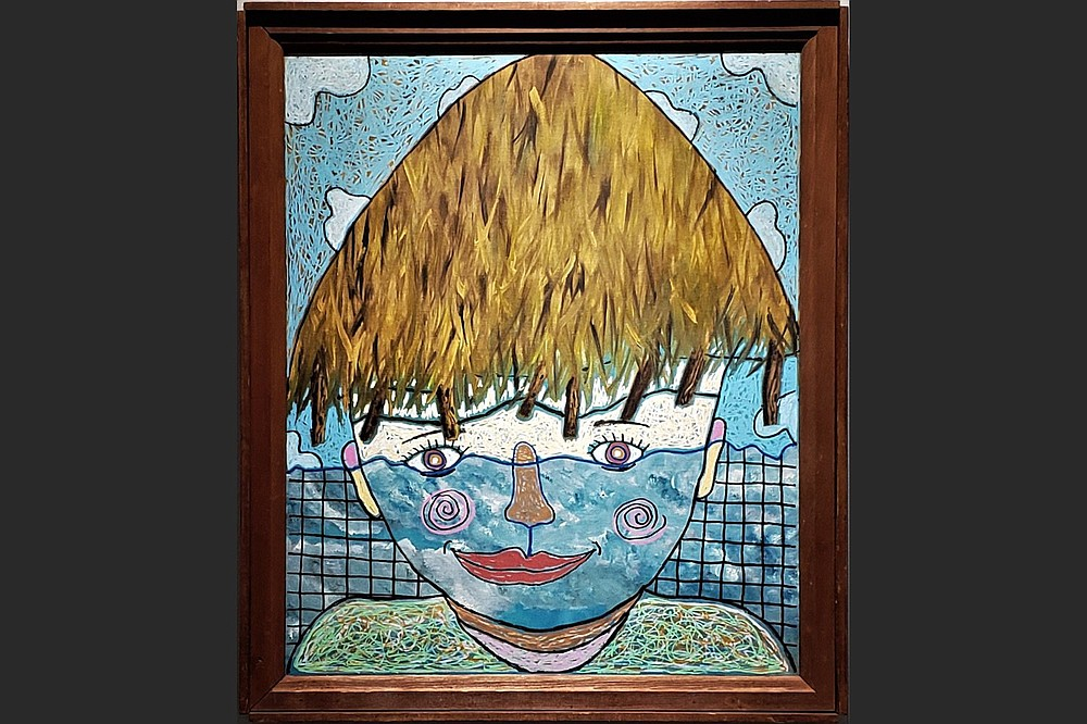 """""""Blue Boy,"""" acrylic on existing painting, is part of the works included in """"1989-2021: A Retrospective of Jerry Colburn."""" (Special to the Democrat-Gazette/Jerry Colburn, Arts & Science Center for Southeast Arkansas)"""