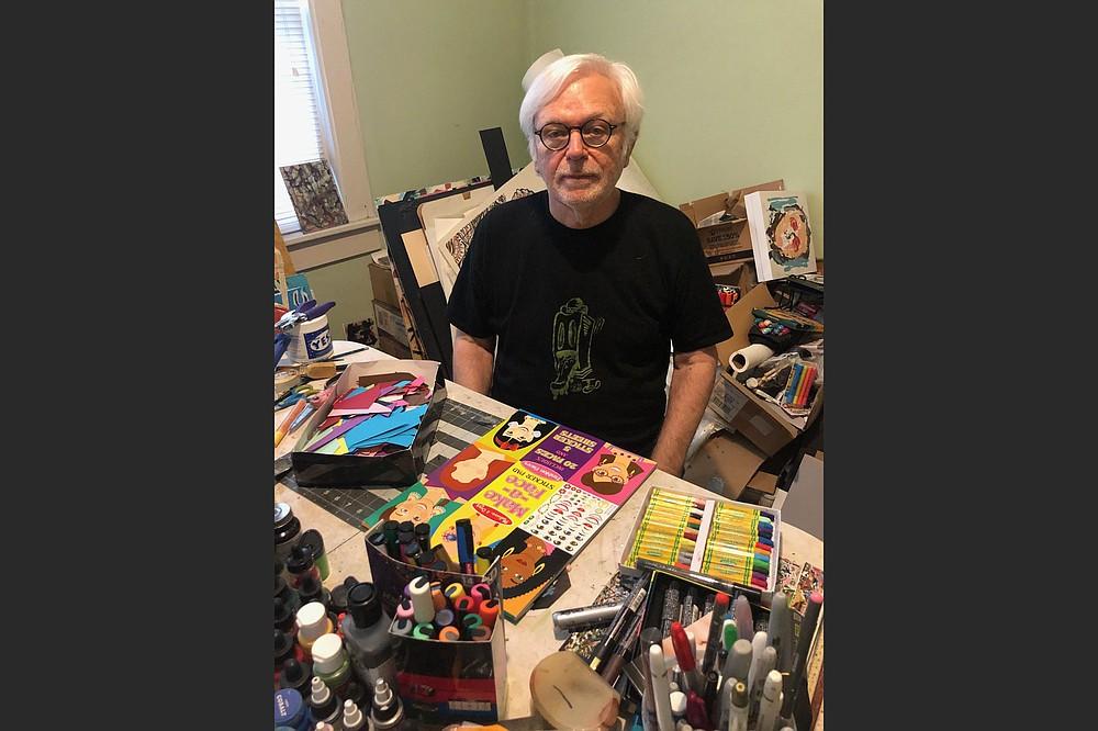 North Little Rock artist Jerry Colburn works in his home. (Arkansas Democrat-Gazette/Sean Clancy)