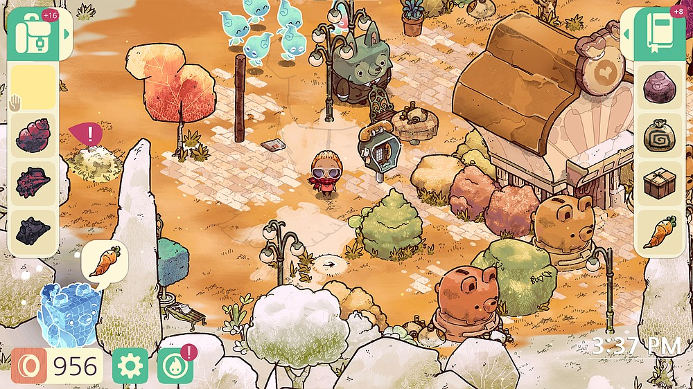 """""""Cozy Grove"""" is a life-sim video game about camping on an island haunted by the ghosts of depressed animals. Published  in March 2021. (Spry Fox)"""