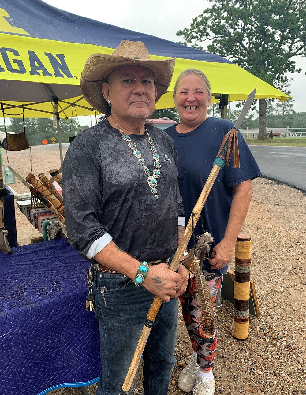 """Sally Carroll/Special to the McDonald County Press One of the most popular items Apache artisan Carlos Martinez creates is the handcrafted walking stick. His wife, Kelly, said he has """"talent galore."""""""