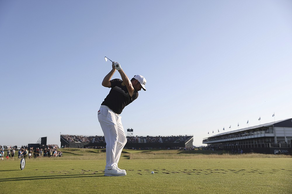 South Africa's Louis Oosthuizen hits his tee shot on the 16th hole during the second round of the British Open Golf Championship at Royal St George's golf course Sandwich, England, Friday, July 16, 2021. (AP Photo/Peter Morrison)
