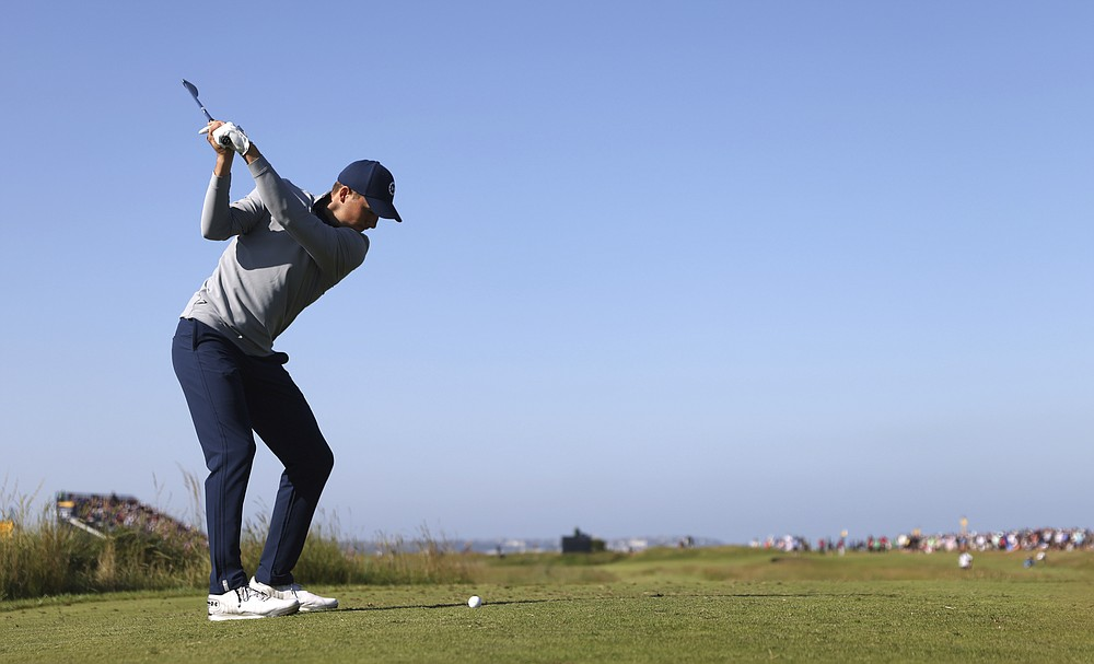United States' Jordan Spieth tees off on the 11th hole during the second round of the British Open Golf Championship at Royal St George's golf course Sandwich, England, Friday, July 16, 2021. (AP Photo/Peter Morrison)