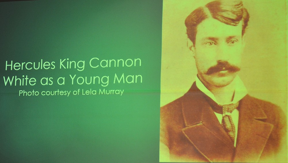 A slide accompanying Thomas A. DeBlack's lecture shows a young Hercules King Cannon White. (Special to The Commercial/Richard Ledbetter)