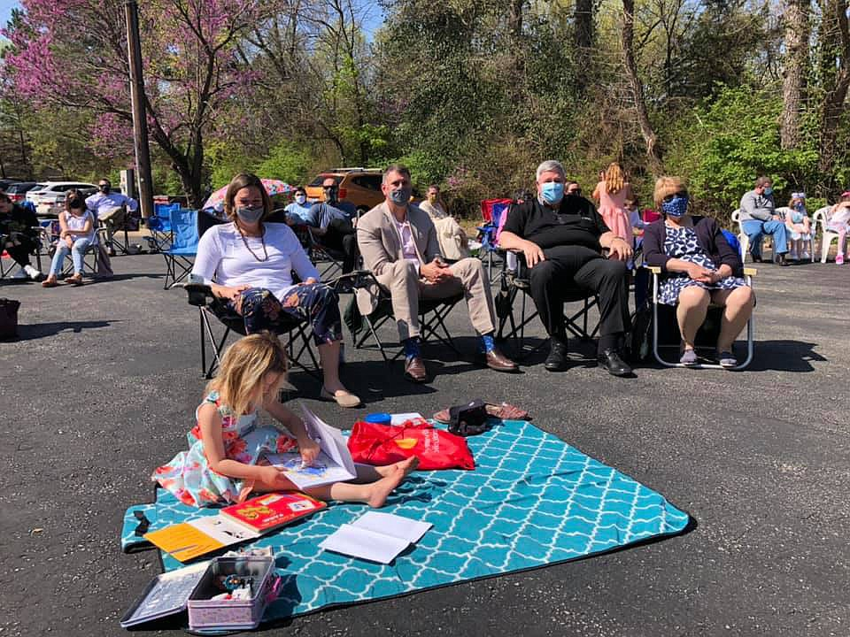 Members of Good Shepherd Lutheran Church attend an outdoor Easter church service on April 4. Good Shepherd has around 500 members, many of whom are members of the LGBTQ community.  (Courtesy photo/Clint Schnekloth)