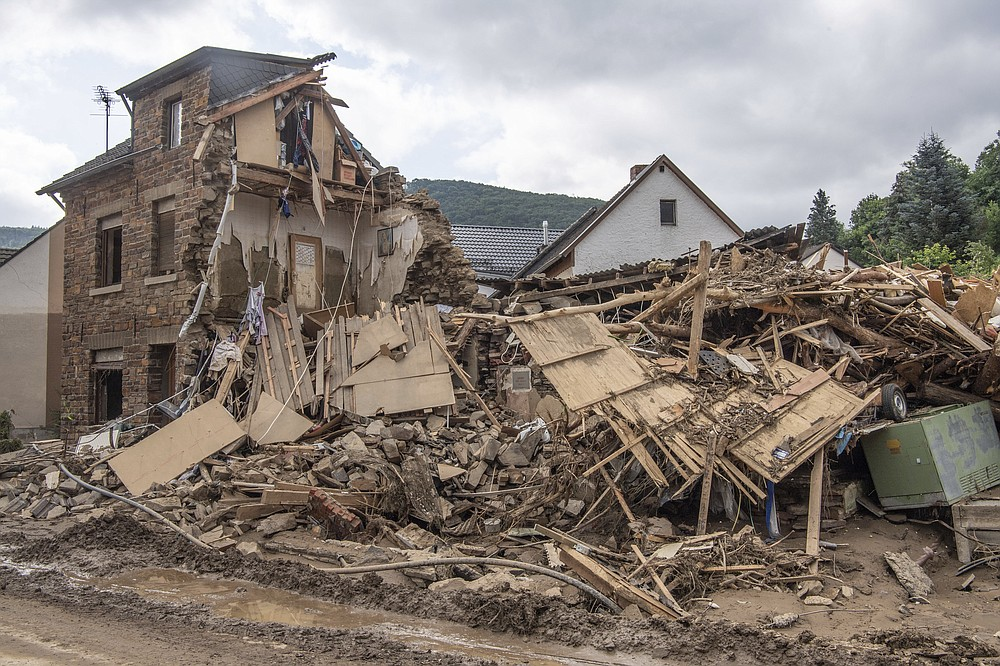 Completely destroyed is this house in Altenahr, Germany, Monday, July 19, 2021. Numerous houses in the town were completely destroyed or severely damaged, there are numerous fatalities. (Julia Cebella/dpa via AP)