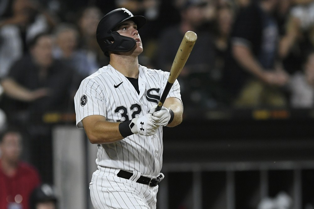 Chicago White Sox's Gavin Sheets watches his walkoff three-run home run to defeat the Minnesota Twins in a baseball game Monday, July 19, 2021, in Chicago.