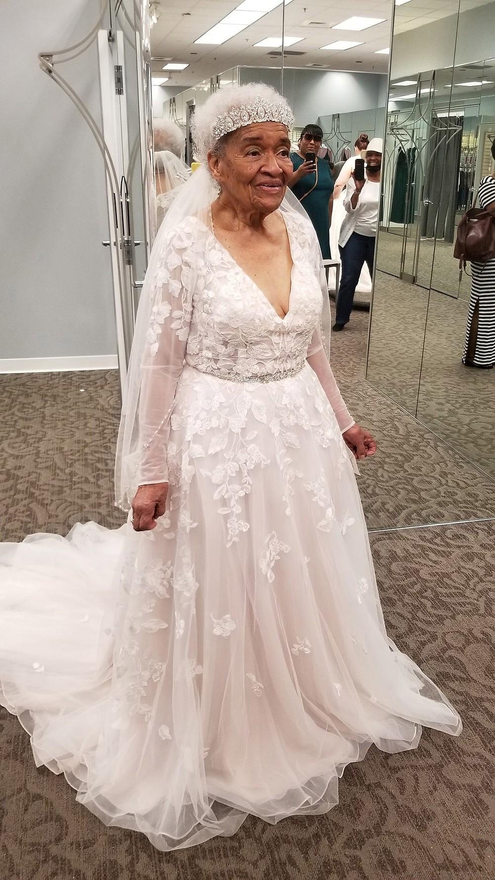 Martha Tucker, 94, wearing her dream wedding gown. MUST CREDIT: Angela Strozier.