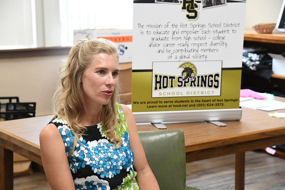 Adriane Barnes, communications and public relations coordinator at the Hot Springs School District, discusses the summer food program on Tuesday. - Photo by Tanner Newton of The Sentinel-Record