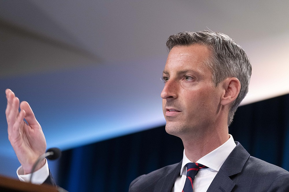 State Department spokesperson Ned Price speaks during a media briefing at the State Department, Wednesday, July 7, 2021, in Washington. (AP Photo/Alex Brandon)