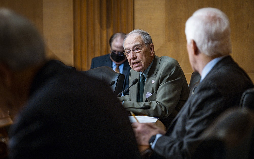FILE - In this May 12, 2021 file photo, Sen. Chuck Grassley, R-Iowa, speaks during a hearing to examine President Joe Biden's 2021 trade policy agenda. A Senate bill that seeks to speed up philanthropic donations to charities appears to be gaining bipartisan support in Congress, taking aim at a popular charitable vehicle called donor-advised funds. DAFs allow donors to enjoy immediate tax deductions while investing their contributions tax-free. The bill, introduced by Sens. Grassley and Angus King, a Maine Independent, would make numerous reforms to DAFs by creating new categories of accounts, among other changes. (Pete Marovich/The New York Times via AP, Pool)