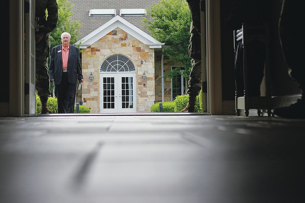 Air Force Mortuary Affairs Operations Senior Chaplain David Sparks arrives at Dover Fisher House at Dover Air Force Base, Del., Monday, June 21, 2021. Dover Fisher House provides short-term, on-base lodging to families who travel to Dover Air Force base to witness the dignified transfer of their loved ones. (AP Photo/Carolyn Kaster)