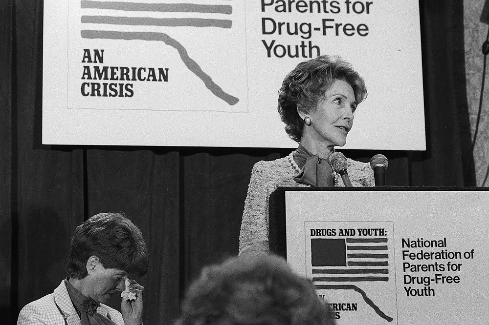 """FILE - In this Oct. 11, 1982 file photo, first lady Nancy Reagan speaks at the first national conference of the National Federation of Parents for Drug-Free Youth in Washington. """"Many people think drug prevention is 'just say no,' like Nancy Reagan did in the '80s, and we know that did not work,"""" said Becky Vance, CEO of the Texas-based agency Drug Prevention Resources, which has advocated for evidenced-based anti-drug and alcohol abuse education for more than 85 years. (AP Photo/Barry Thumma, File)"""