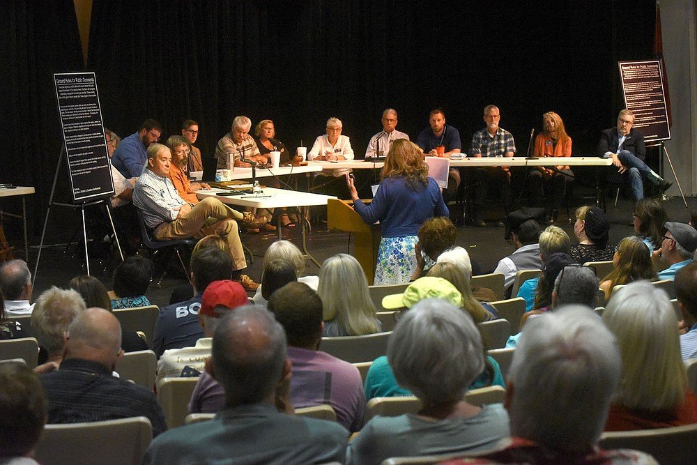Benton County Quorum Court committee of the whole hear Tuesday July 20 2021 public comment about a resolution naming Benton County a pro-life county. (NWA Democrat-Gazette/Flip Putthoff)