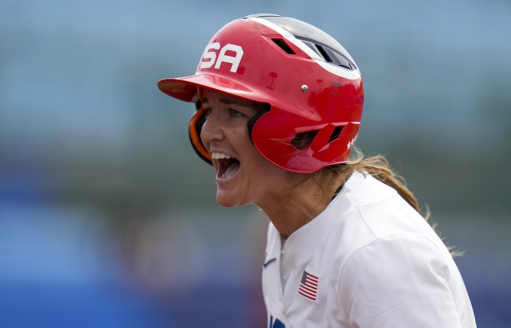 United States' Haylie McCleney reacts during the softball game between the United States and Canada at the 2020 Summer Olympics, Thursday, July 22, 2021, in Fukushima , Japan. (AP Photo/Jae C. Hong)