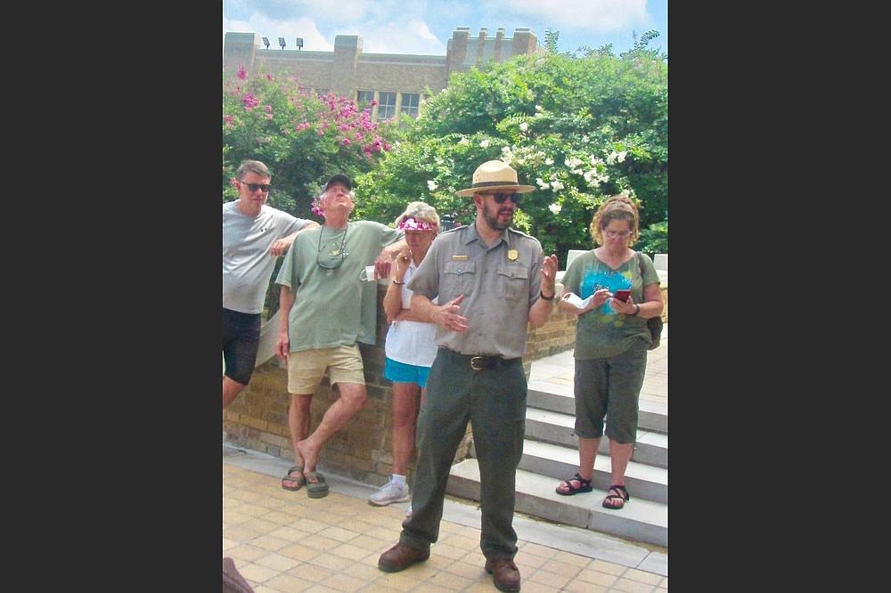 Ranger Brian Schwieger leads a weekday tour to historic Central High School. (Special to the Democrat-Gazette/Marcia Schnedler)