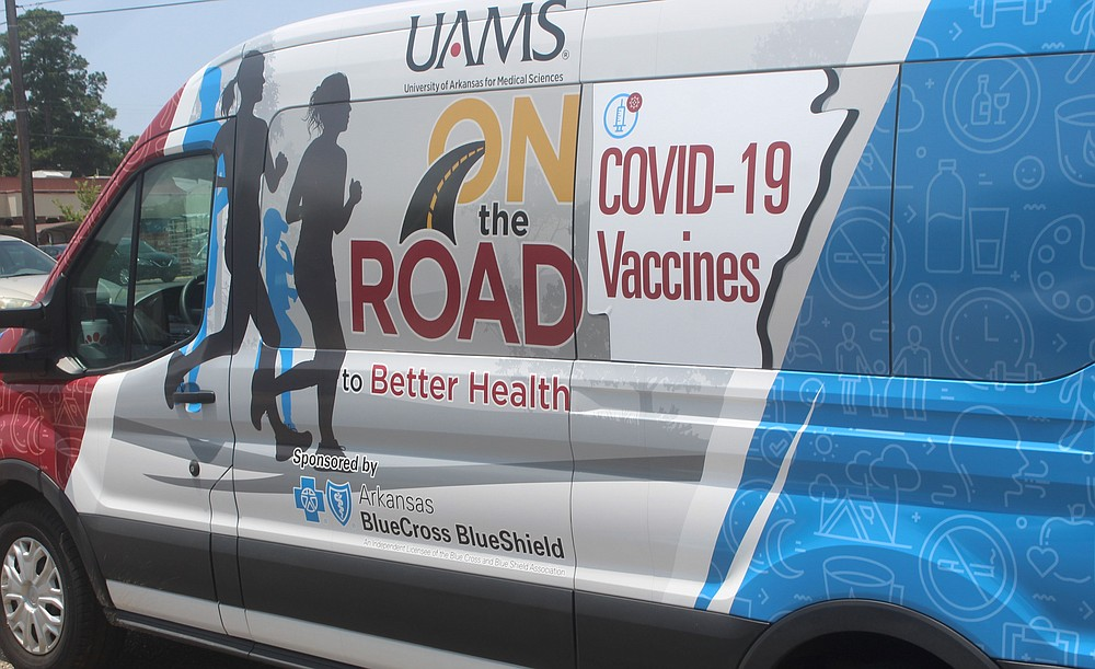 The UAMS mobile vaccination clinic set up shop at the Boys and Girls Club of El Dorado on Saturday. (Matt Hutcheson/News-Times)