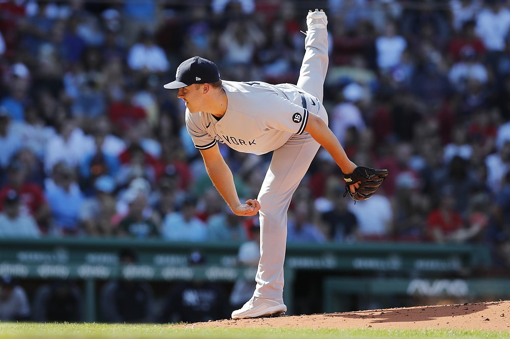 New York Yankees' Jameson Taillon pitches during the first inning of a baseball game against the Boston Red Sox, Saturday, July 24, 2021, in Boston. (AP Photo/Michael Dwyer)