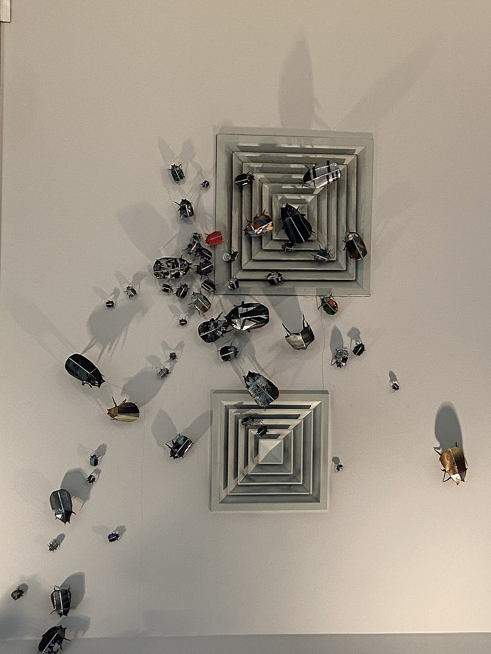 Scarabs appear to be on the ceiling at the Arts and Science Center for Southeast Arkansas. The image is part of the installation by artist Joli Livaudais. (Special to The Commercial)