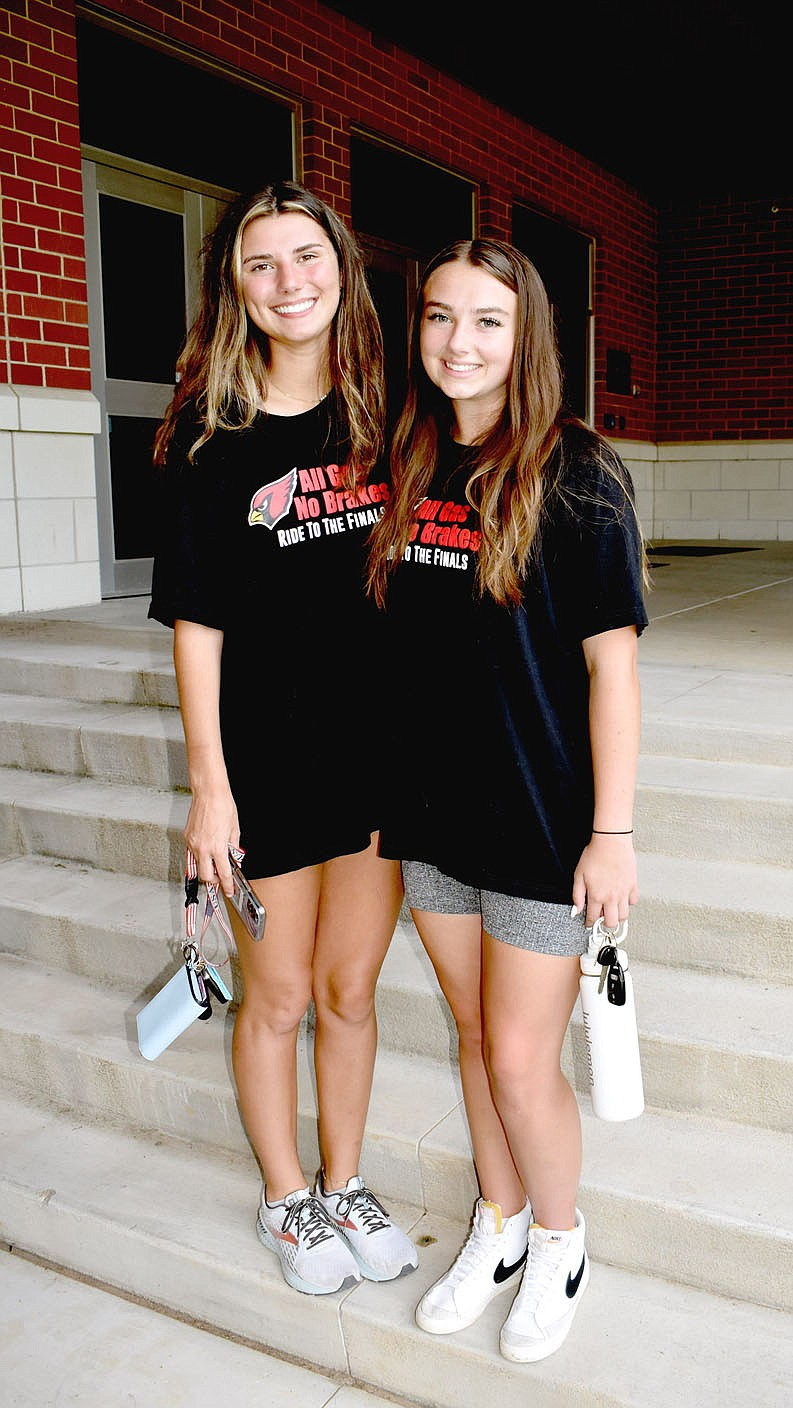 MARK HUMPHREY  ENTERPRISE-LEADER/Farmington 2021 graduates Tori Kersey (left) and Trinity Johnson provided a one-two offensive punch that every opponent had to deal with while leading the Lady Cardinals into a Class 4A State Runner-up finish to culminate their storied high school girls basketball careers. Both were selected to the Arkansas High School Coaches Association 2021 All-Star team representing the West. The game wasn't played for the second straight year because of covid.