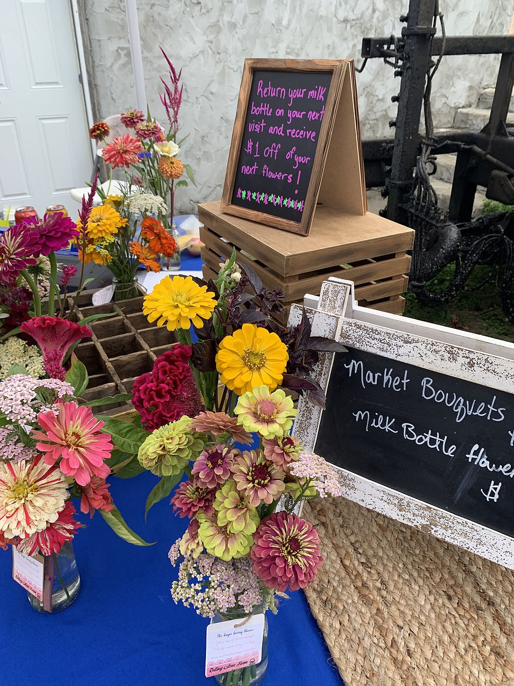 SALLY CARROLL/SPECIAL TO MCDONALD COUNTY PRESS Jesseca Freese creates these colorful bouquets and sells them at Mountain Happenings at Sims Corner.