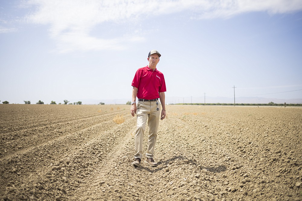 Greg Pruett, the chief executive of Ingomar Packing Company, stands in a fallow field. MUST CREDIT: Photo by John Brecher for The Washington Post.