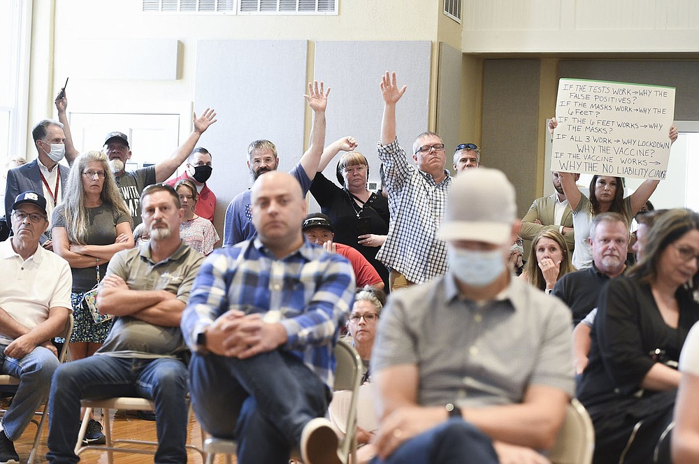 Charlie Kaijo/NWA Democrat-Gazette The crowd gathers Friday to hear Governor Asa Hutchinson at the American Legion Community Hall in Siloam Springs. Gov. Hutchinson visited Siloam Springs for the final stop in his series of community conversation about the covid vaccine.