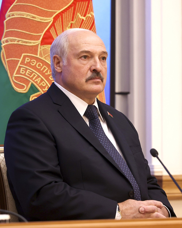 Belarus President Alexander Lukashenko speaks during a meeting with officials in Minsk, Belarus, Friday, July 23, 2021. (Pavel Orlovsky/BelTA Pool Photo via AP)